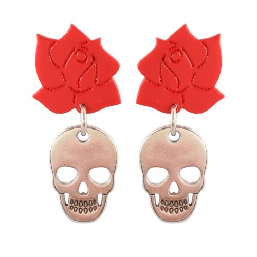 PENDIENTES SKULL AND ROSES
